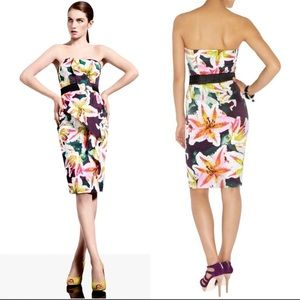 Karen Millen Strapless Tiger Lilly Print Dress 6